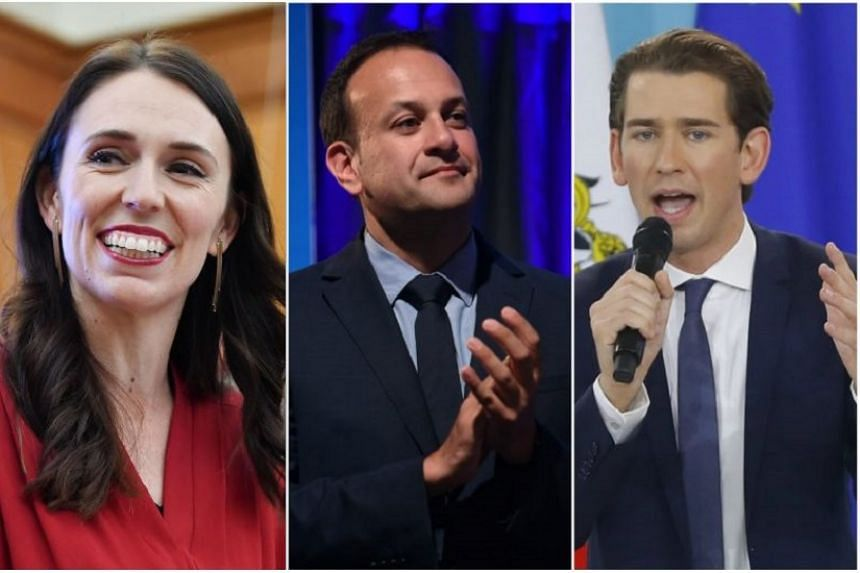Some of the world's youngest leaders include (from left) New Zealand Prime Minister Jacinda Ardern, Ireland's Prime Minister Leo Varadkar and Austria's chancellor-in-waiting Sebastian Kurz.