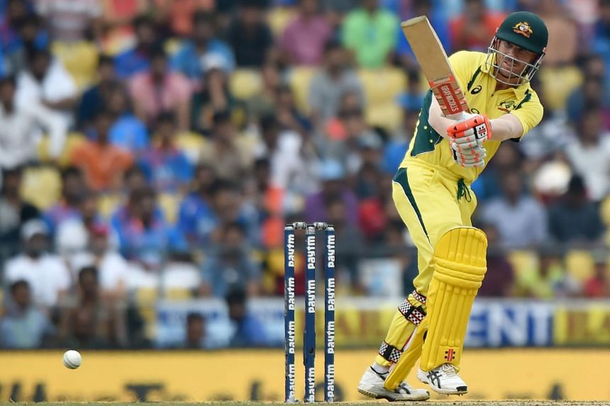 Australian cricketer David Warner plays a shot during the fifth one-day international cricket match against India at the Vidarbha Cricket Association Stadium in Nagpur on Oct 1, 2017.