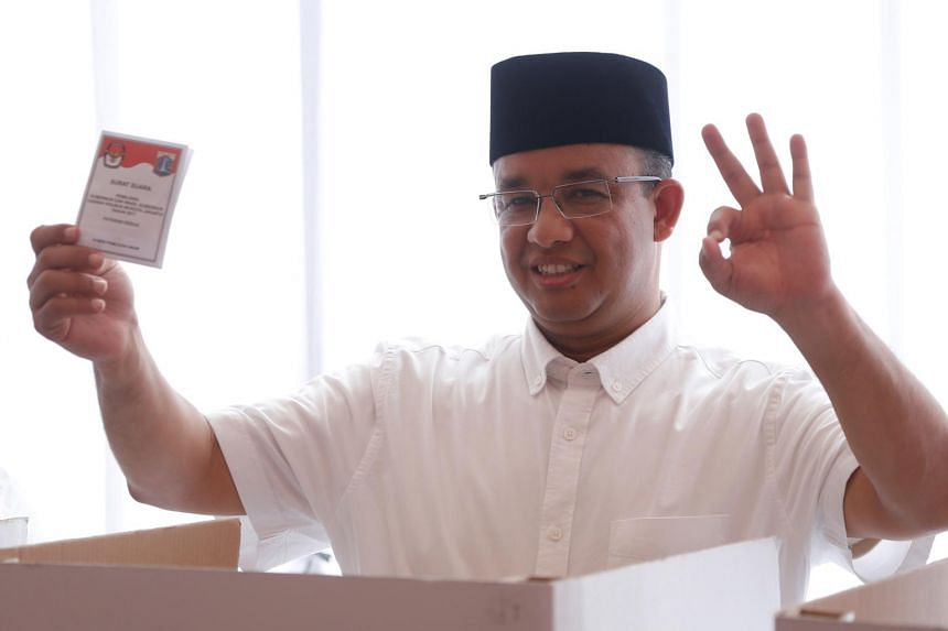 Mr Anies Baswedan casts his vote in the Jakarta governor election in South Jakarta, Indonesia, on April 19, 2017. Mr Anies and deputy governor-elect Sandiaga Uno will be inaugurated by President Joko Widodo on Monday.