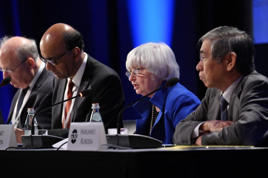 Federal Reserve chair Janet Yellen (second right) speaks during the Group of Thirty (G30) International Banking Seminar in Washington, DC, on Sunday, Oct 15.