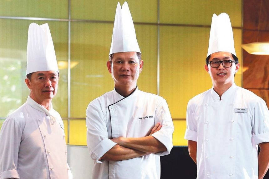 From left: Sous chef Steven Lim, executive chef Charlie Tham and junior sous chef Chew Jian Da.
