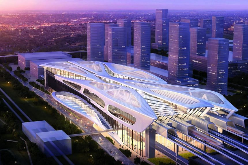 Artist's impression of the upcoming Bandar Malaysia High Speed Rail (HSR) station in Kuala Lumpur, Malaysia. The iconic Bandar Malaysia station is the first station for the Kuala Lumpur-Singapore HSR, acting as a gateway to Malaysia and will connect