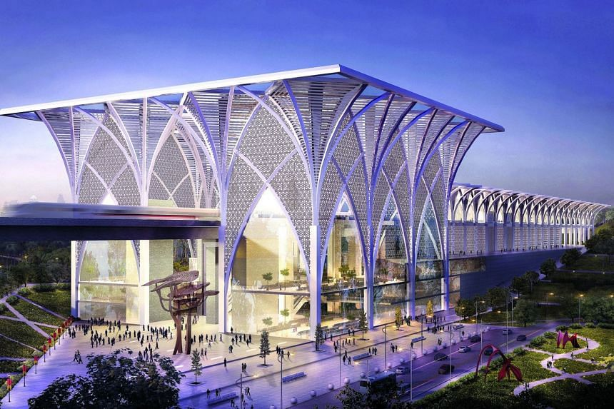 Artist's impression of the upcoming Bangi-Putrajaya High Speed Rail station in Malaysia. The station is inspired by Islamic architecture that can be seen in mosques in the country. This station envisions Malaysia's aspirations as a progressive nation
