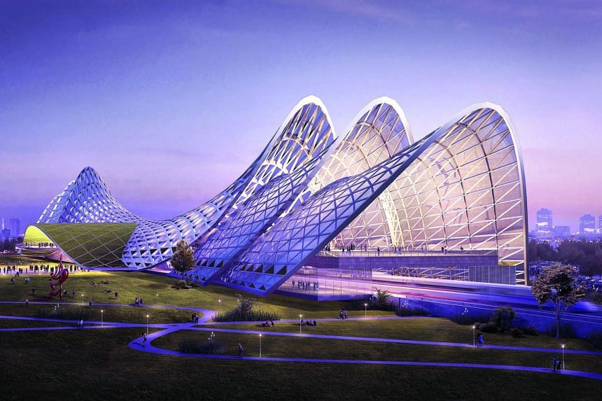 Artist's impression of the upcoming Seremban High Speed Rail station in Negeri Sembilan, Malaysia. A station in the park at the heart of the Malaysian Vision Valley, the Seremban station combines elements of green beauty, futuristic development and p