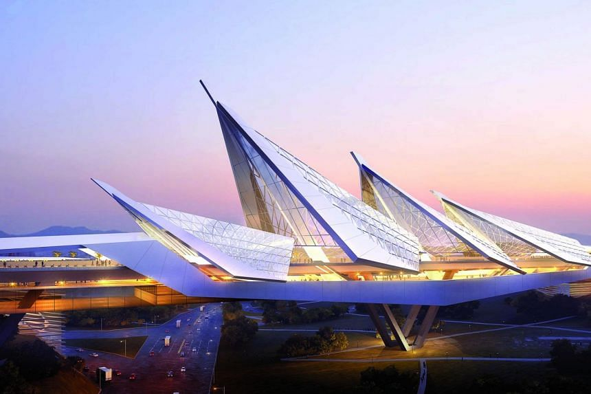 Artist's impression of the upcoming Melaka High Speed Rail station in Malaysia. The Melaka station is inspired by the bustling Straits of Malacca connecting the Indian Ocean and Pacific Ocean as the main shipping channel. The station's design has a m
