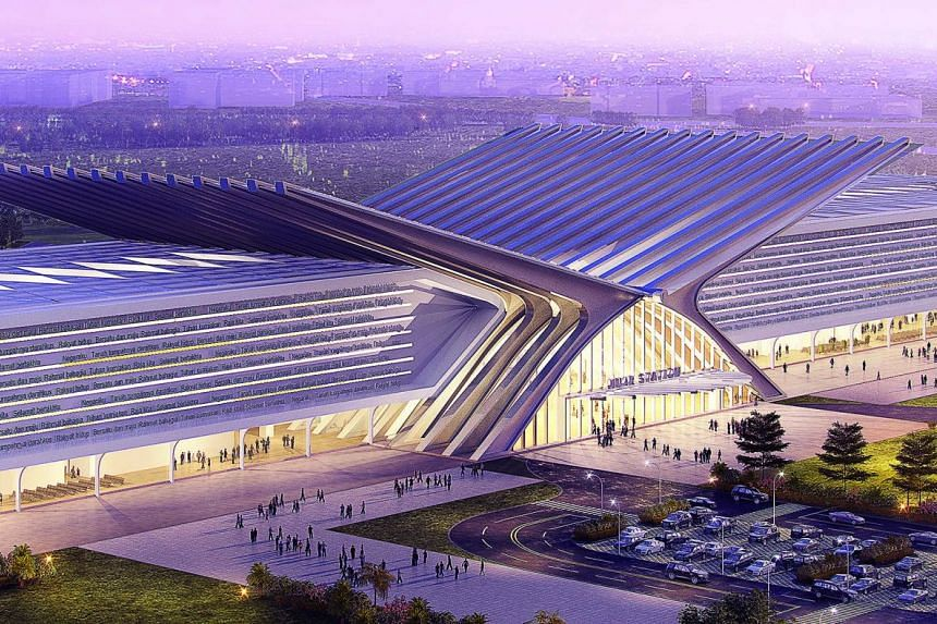 Artist's impression of the upcoming Muar High Speed Rail station in Johor, Malaysia. The 'rehal', a book rest used when reciting the Quran, symbolises the instrumental role of Muar, home to numerous academic and political leaders, in Malaysian histor
