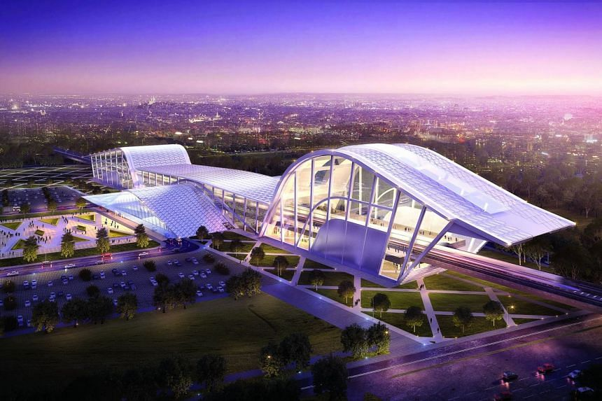 """Artist's impression of the upcoming Batu Pahat High Speed Rail station in Johor, Malaysia. The Batu Pahat station is inspired by a prominent local culture of Johor known as the """"Kuda Kepang"""" dance, that is accompanied by traditional musical instrumen"""