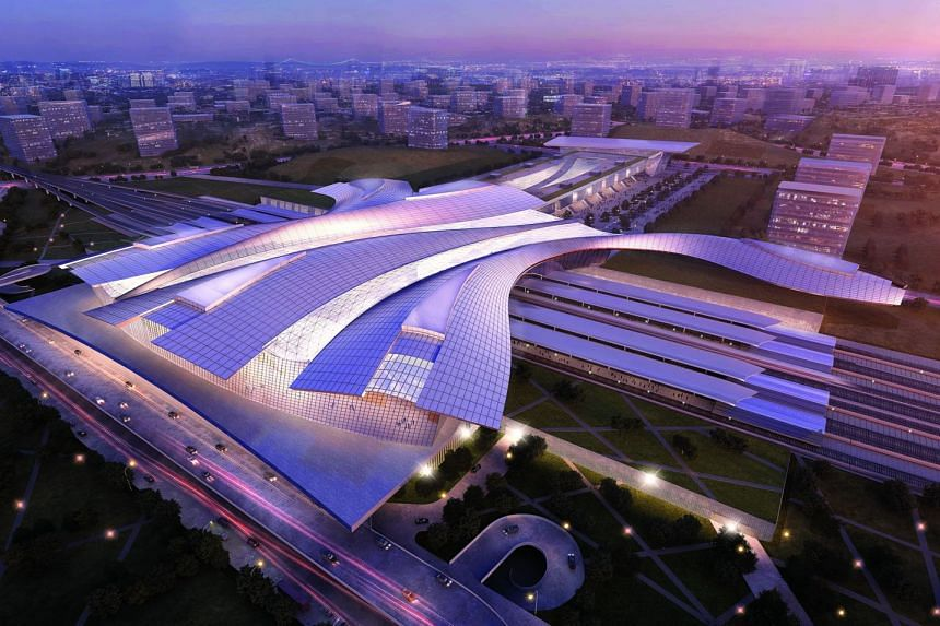 Artist's impression of the upcoming Iskandar Puteri High Speed Rail station in Johor, Malaysia. This is the last station in Malaysia before the border-crossing, which signifies the role of borders as a meeting place between people and culture. The st