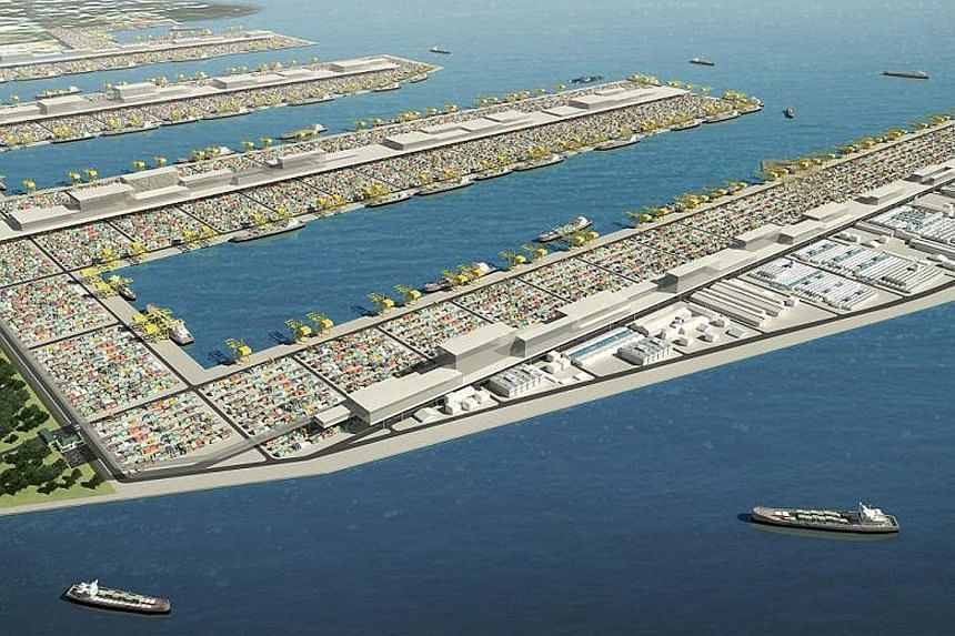An artist's impression of the Tuas mega port, which will be twice the size of Ang Mo Kio town. It will be opened progressively from 2021 and be completed by 2040.