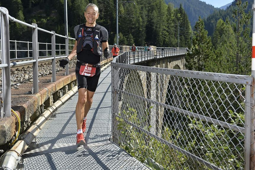 Life and sports coach David Tay running the Swiss Alpine Marathon in Davos, Switzerland, on July 29 this year. He managed to finish within the cut-off time of 13 hours for the 78km ultra race.