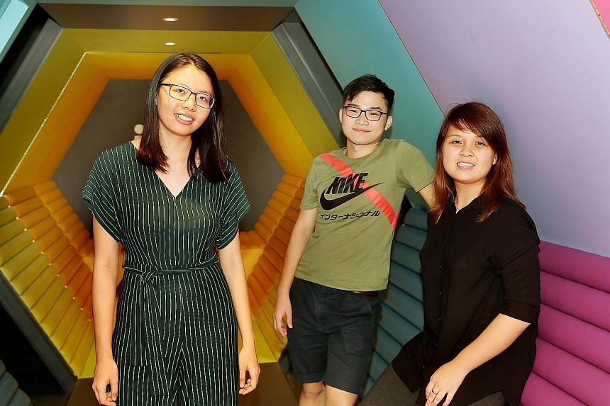 Alumni from the pioneer batch of the School of Science and Technology, Singapore: (from left) NUS law student Khit Sue Lun, Ngee Ann Polytechnic graduate Jurvis Tan, and NUS medical student Grace Tan. Statistics compiled by SST on the paths that its