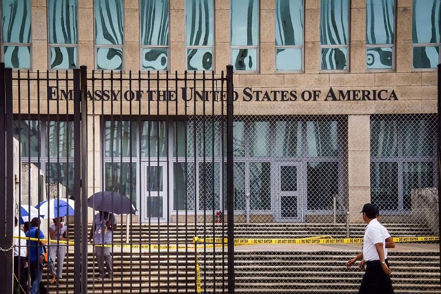 The entrance of the US embassy in Havana. Trump blamed Cuba for the mysterious attacks that sickened US diplomats there.