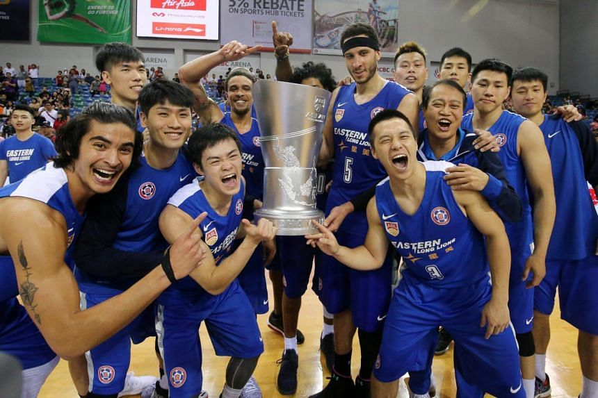 The Hong Kong Eastern Long Lions celebrating after their win over the Singapore Slingers during the Asean Basketball League Finals at the OCBC Arena on Apr 23, 2017.