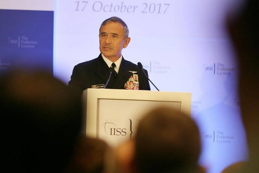 Admiral Harry Harris outlined three challenges facing the region: North Korea, China, and the Islamic State in Iraq and Syria (ISIS) during a 30-minute address at the Fullerton Lecture on Oct 17, 2017.
