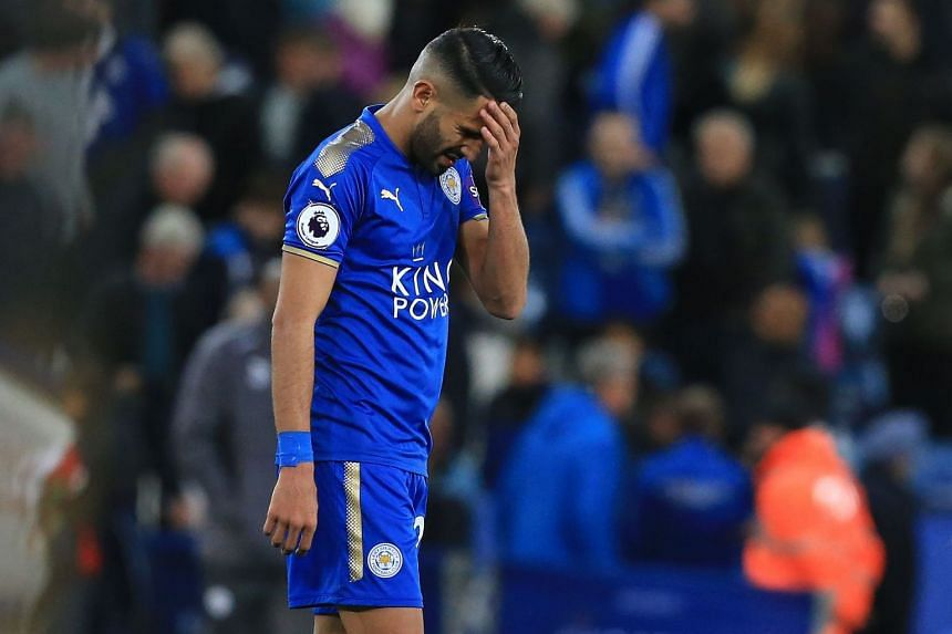 Leicester City's Algerian midfielder Riyad Mahrez reacts following the English Premier League football match between Leicester City and West Bromwich Albion at King Power Stadium in Leicester, central England on Oct 16, 2017.
