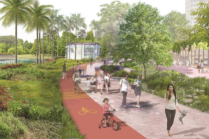 An artist's impression of Kallang Riverside Park with water sensitive design features.