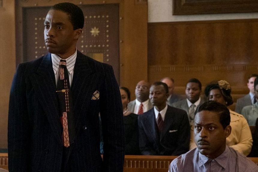 Historical drama Marshall's Chadwick Boseman (left) and Sterling K. Brown.