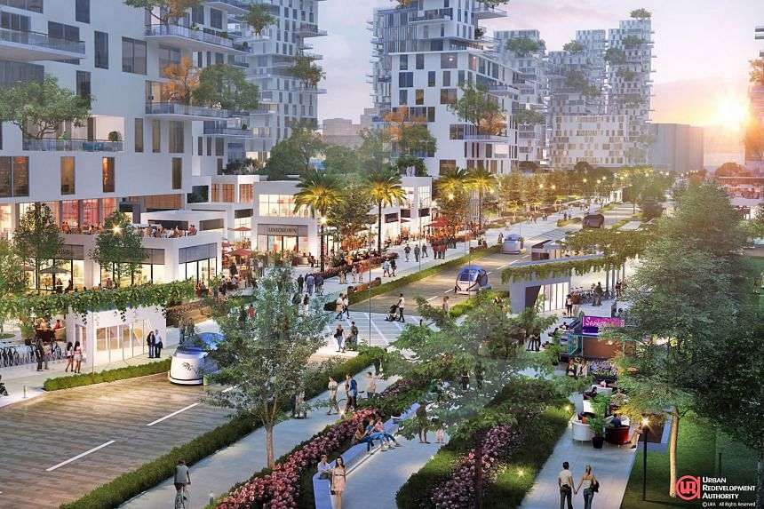 Artist impressions of Bayshore Street (above), the community plain at Holland Plain and the proposed Kallang Riverside Park waterfront. Proposals on the three new precincts are being exhibited at URA's Our Neighbourhoods: A Look Into The Future exh