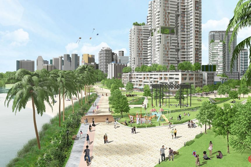 Artist impressions of Bayshore Street, the community plain at Holland Plain and the proposed Kallang Riverside Park waterfront (above). Proposals on the three new precincts are being exhibited at URA's Our Neighbourhoods: A Look Into The Future exh