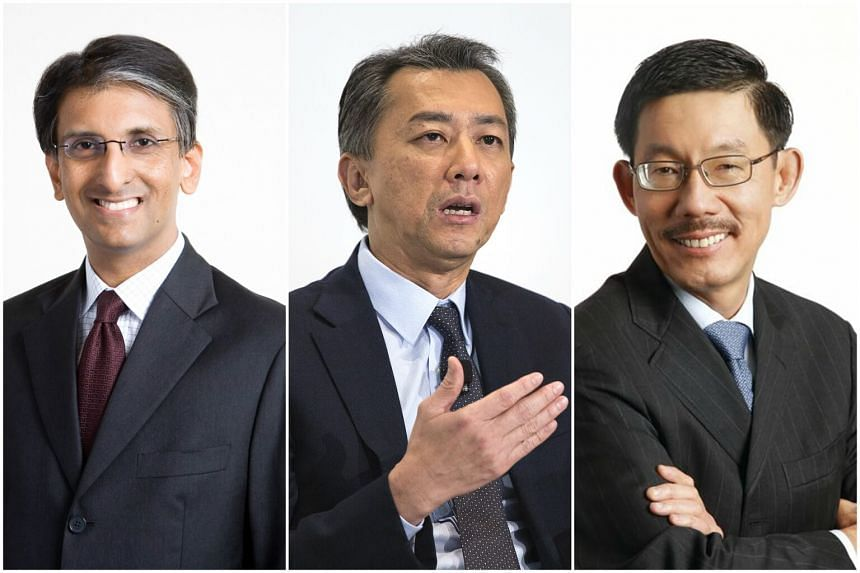 (From left) Mr Dilhan Pillay has been named deputy chief executive officer,  Mr Chia Song Hwee has been appointed chief operating officer and Mr Tan Chong Lee will be appointed president of Temasek International.