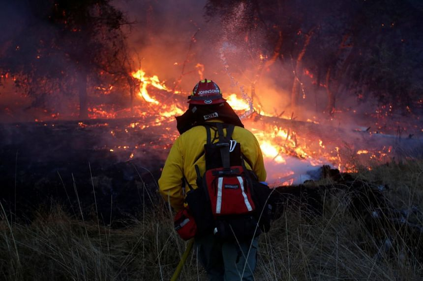 Firefighters battling a wildfire near Santa Rosa, California, US, on Oct 14, 2017. Fire officials are confident they had finally gained the upper hand against the flames.
