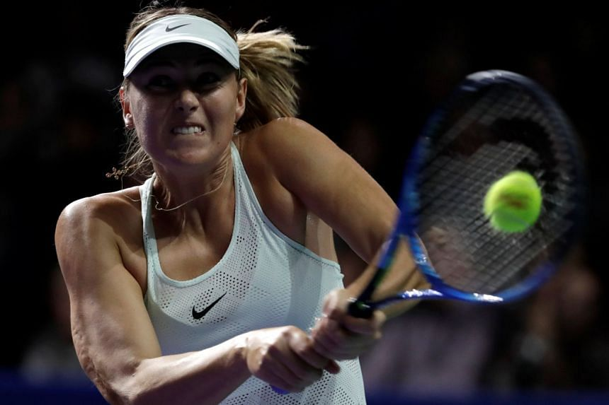 Sharapova in action against Magdalena Rybarikova of Slovakia.