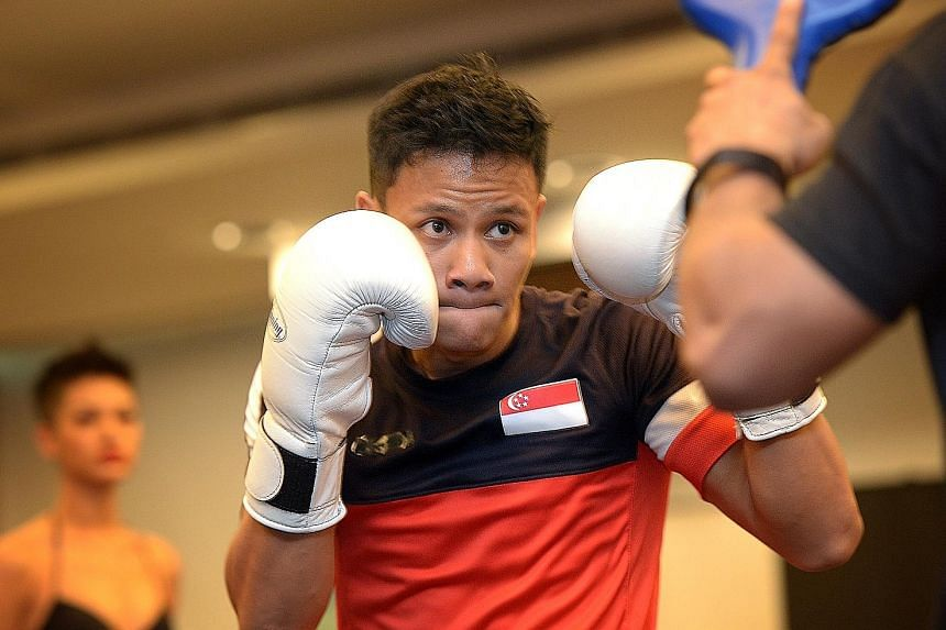 Singaporean Muhamad Ridhwan at the open training session ahead of Friday's Roar of Singapore III, which will be headlined by his IBO super featherweight bout against Namibian Nataneal Sebastian. The event will be held at the Suntec Convention Centre.