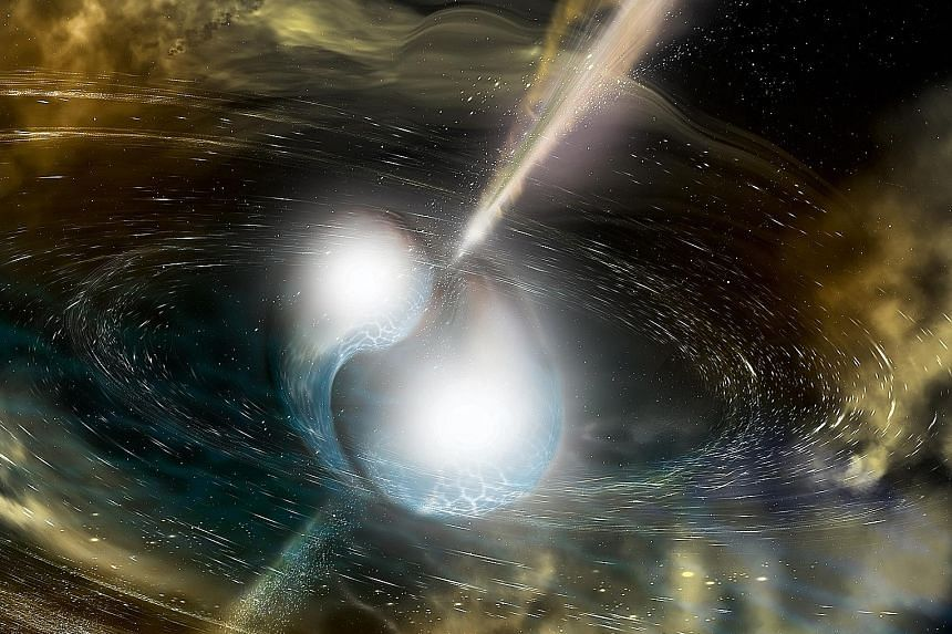 An illustration showing the merging of two neutron stars. Aug 17's event set off sensors in space and on Earth, as well as produced a loud chirp in antennas designed to study ripples in the cosmic fabric.