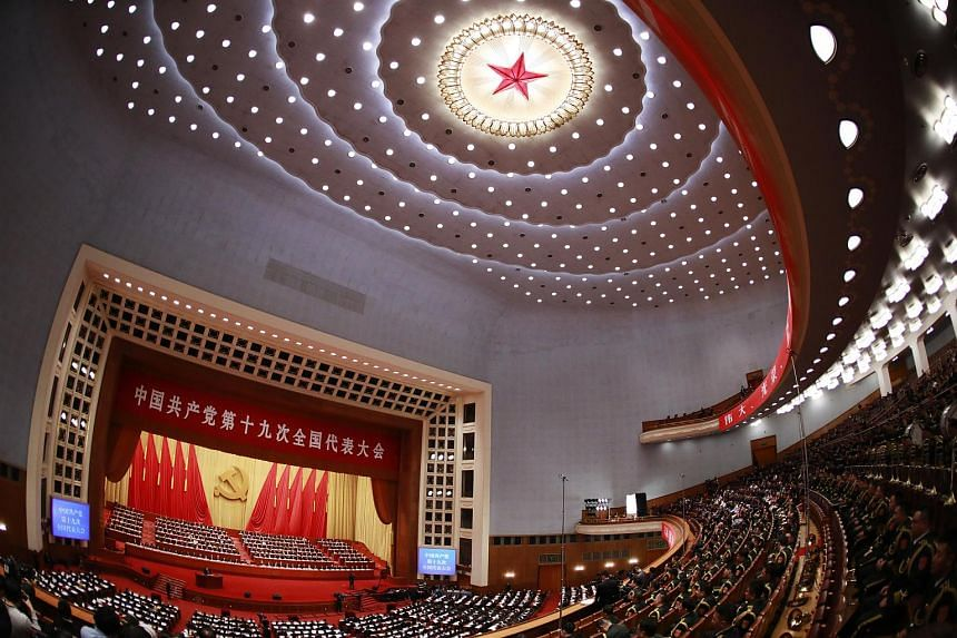 A view of  Great Hall of the People as Chinese President Xi Jinping delivers his speech during the opening ceremony of the 19th National Congress of the Communist Party of China (CPC), on Oct 18, 2017.