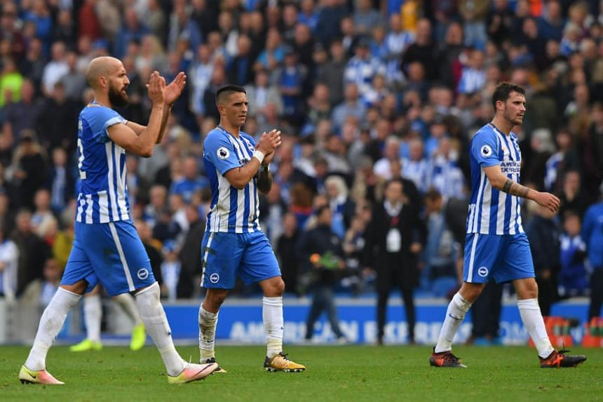 Brighton's players during their match against Hove Albion in Brighton, on Oct 15, 2017.