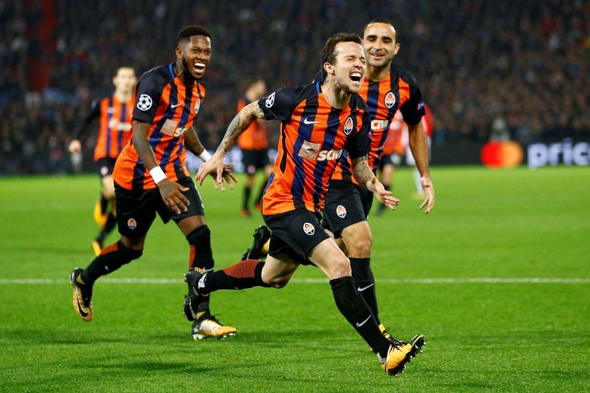Shakhtar Donetsk's Bernard celebrating scoring the team's second goal during the Champions' League match against Feyenoord on Oct 17, 2017.