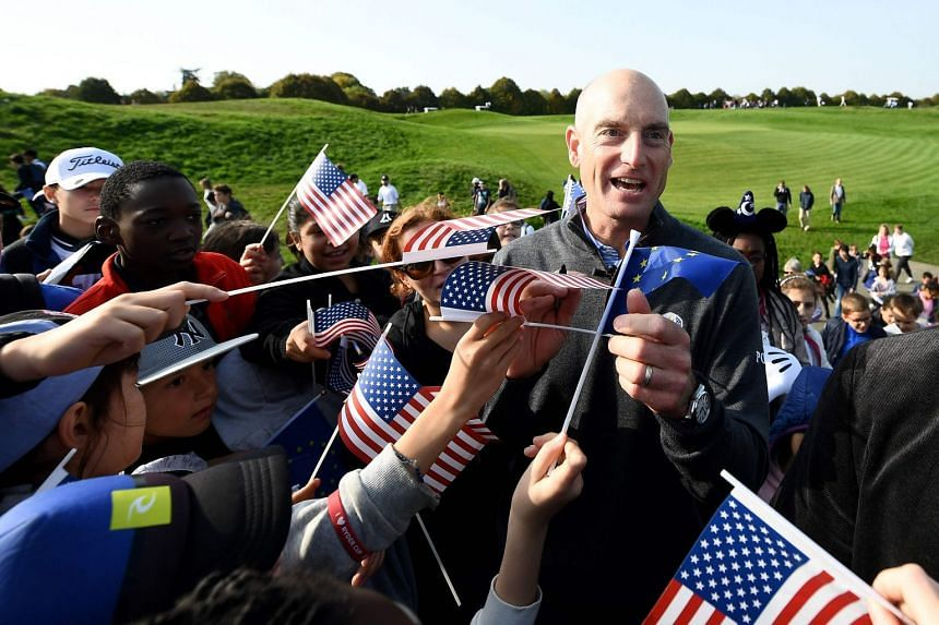 Furyk signs autographs during the 2018 Ryder Cup media day, Oct 16, 2017.
