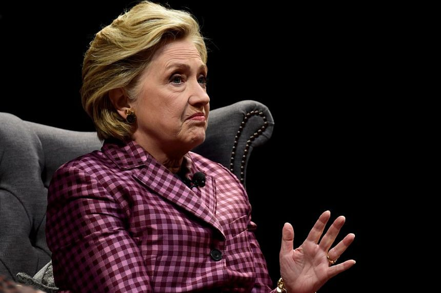 Former US Secretary of State, Hillary Clinton speaks during an interview with Mariella Frostrup at the Cheltenham Literature Festival in Cheltenham, Britain.