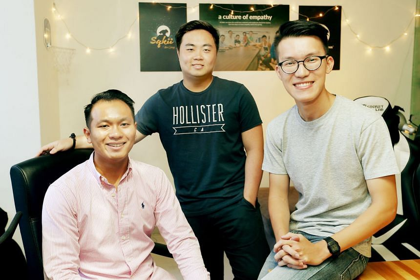 """Sqkii founders (from left) Marcus Ng, Eleazar Lim and Kenny Choy first came up with the """"Hunt the Mouse"""" campaign in NTU as a guerilla marketing campaign. An islandwide version of the hunt was later organised with OCBC as the $50,000 prize sponsor."""