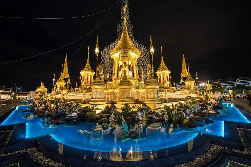 The main edifice of the cremation site for Thailand's late king Bhumibol Adulyadej.