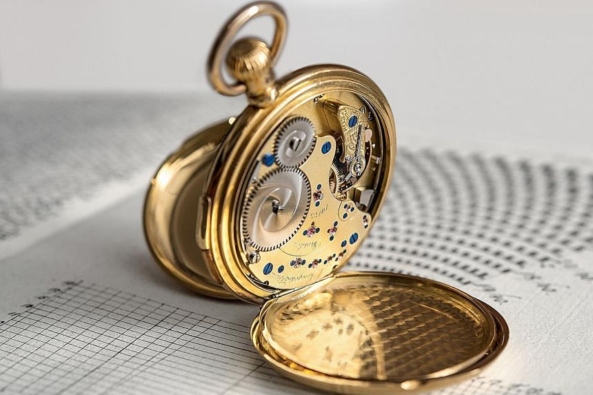 Rare pieces from A. Lange & Sohne, such as this pocket watch (above), are featured at the 100 Masterpieces exhibition. From top: Lange 1, Tourbillon Pour Le Merite, Arkade and 1815 Annual Calendar.