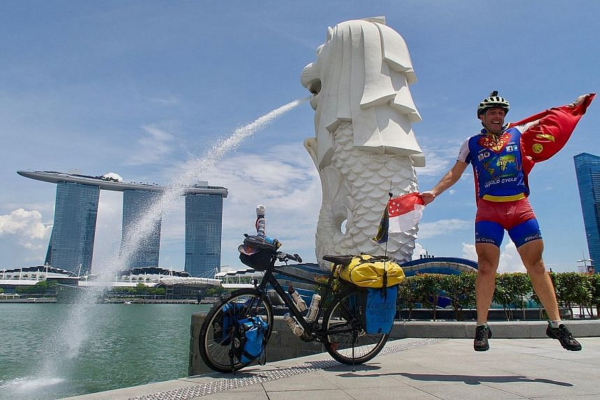 """""""Super cycling man"""" Will Hodson in (from left) Malaysia, Turkey and Georgia. To save money, he either camps outdoors or stays with friends and in sanctuaries like temples and mosques. Mr Will Hodson is in Singapore till Oct 29, after which he will co"""