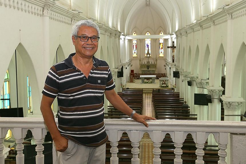 The heavy brass bell in the belfry of the church in Hougang was hoisted in place more than a hundred years ago by its head priest - and still chimes every day to mark the start of mass. Mr Bernard Braberry, the church administrator, also conducts his