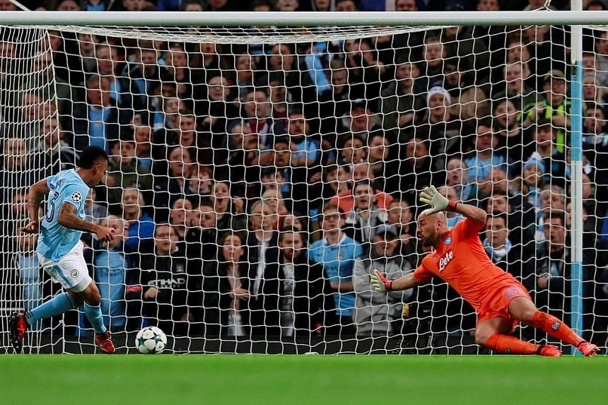 Manchester City forward Gabriel Jesus slotting past Napoli 'keeper Pepe Reina in the 13th minute to put his side two up. With their 2-1 win, City sit pretty atop Group F as they remain undefeated so far this season.