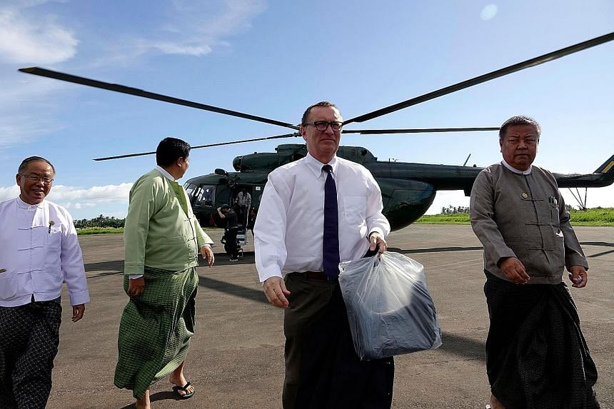 United Nations undersecretary-general for political affairs Jeffrey Feltman arriving at Sittwe Airport in Rakhine state on Tuesday.