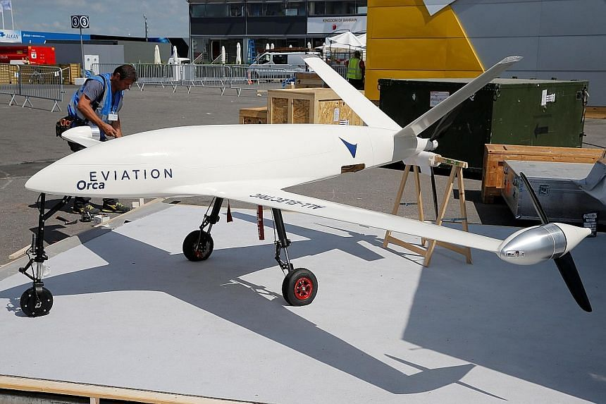 "An electric UAV ""Orca"", made by Eviation, being prepared for static display at the 52nd Paris Air Show in June. Eviation is intent on returning with a full-scale electric aircraft capable of carrying passengers in 2019."