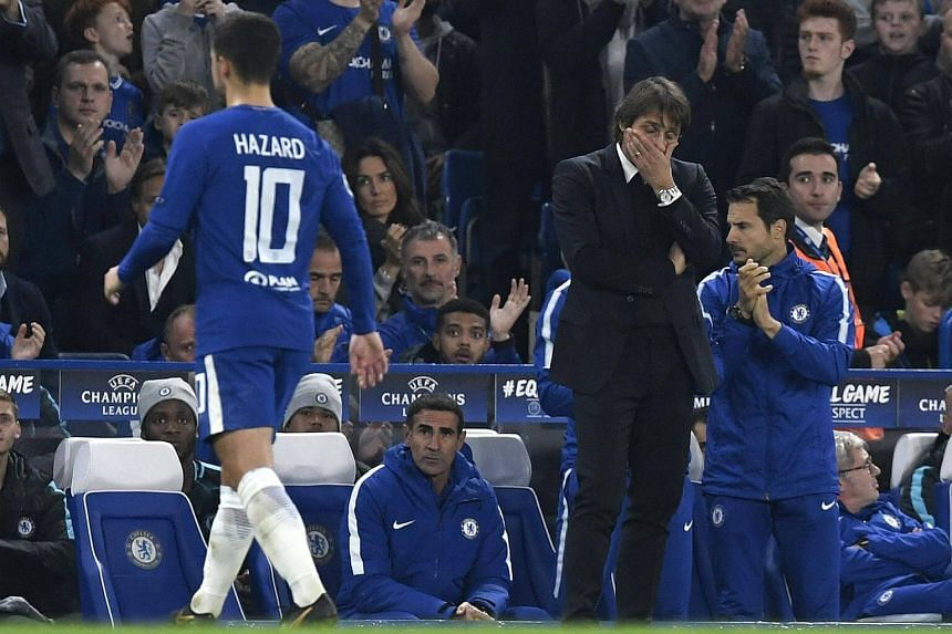 Antonio Conte reacts during the Uefa Champions League Group C football match between Chelsea FC and AS Roma.