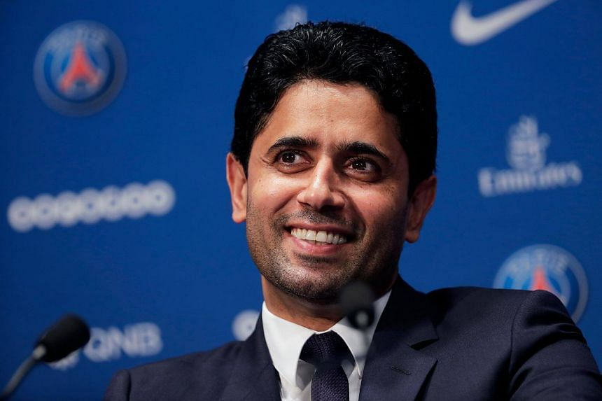 Paris Saint Germain's Qatari president Nasser Al-Khelaifi giving a press conference in Paris.