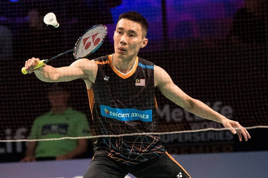 Lee Chong Wei of Malaysia in action against Pablo Abian of Spain at the Danisa Denmark Open in Odense, Denmark, on Oct 18, 2017.