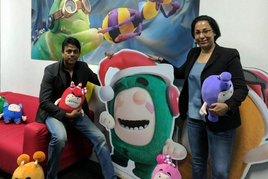 Mr Anurag Srivastava, co-founder of One Animation with staff Ms Sashim Parmanand and toys from animated series titled Oddbods.