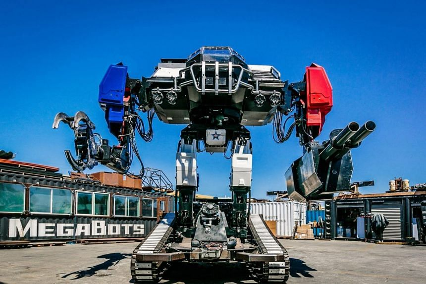 Eagle Prime, a giant robot by MegaBots which manufactures giant piloted humanoid fighting robots headquartered in Berkeley, California, on Oct 17, 2017.