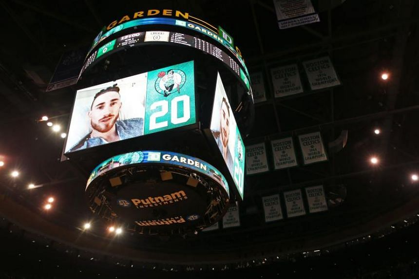 Gordon Hayward of the Boston Celtics sending a message to fans through a recorded video before the game against the Milwaukee Bucks at TD Garden on Oct 18, 2017 in Boston, Massachusetts. He did not attend the game after breaking his ankle the night b