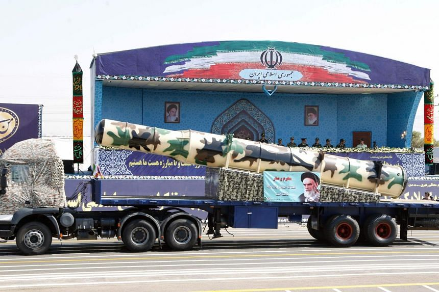 An Iranian Russian-made s-300 missile is displayed during the annual military parade in Tehran on Sept 22, 2017.