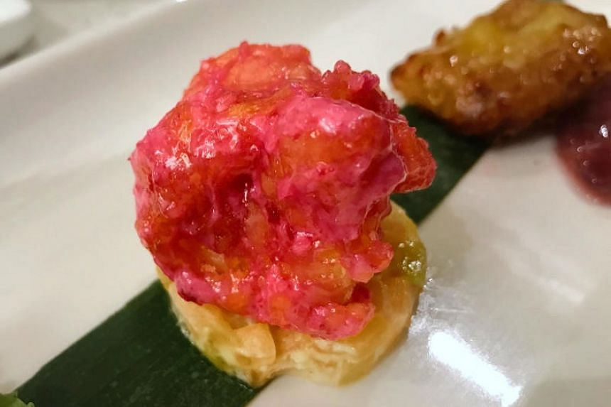 Crispy Prawn tossed in Beetroot Salad Mayonnaise from Royal Pavilion.
