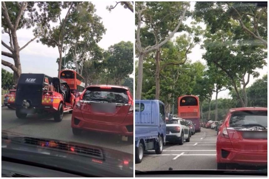 The incident caused congestion along Loyang Avenue towards Changi on the morning of Oct 19, 2017.